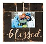 Blessed Grey 11 x 10 Inch Solid Pine Wood Clothesline Clipboard Photo and Momento Display