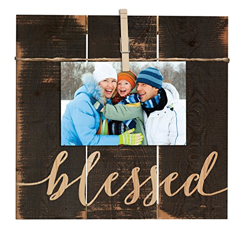 Blessed Grey 11 x 10 Inch Solid Pine Wood Clothesline Clipboard Photo and Momento (Blessed Frame)