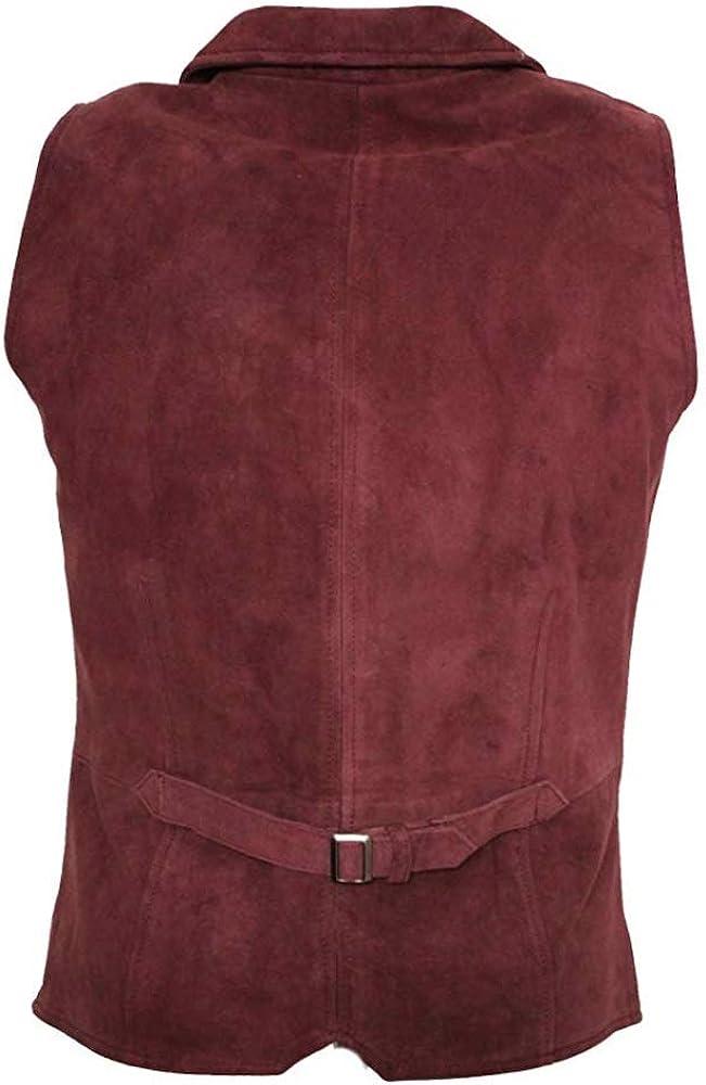 Stile Casual Marrone e Nero Oliva Infinity Leather Gilet da Uomo in Vera Pelle Scamosciata
