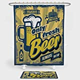 iPrint Man Cave Decor Shower Curtain And Floor Mat Combination Set Delicious Fresh Premium Beer Old Fashion Graphic Design Bottle Keg Mug Foam Decorative For decoration and daily use Multicolor