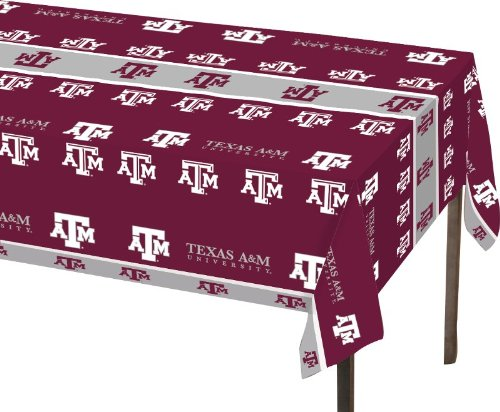 (Creative Converting Texas A and M Aggies Plastic Table Cover, 54