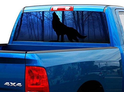 Wolf Window Graphics - P428 Wolf Tint Rear Window Decal Wrap Graphic Perforated See Through UNIVERSAL SIZE 65