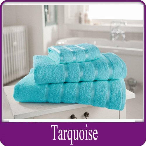 Egyptian Cotton Towel Luxury Pair Of Bath Sheets 100% Cotton 600gsm Satin Stripe Towel, Turquoise HOME IS HEAVEN