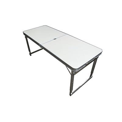 Xing Lin Table Pliable L'Alliage Aluminium Table Pliante Et Une Chaise Portable Valise Table De Pique-Nique Sencare Promotion Promotion Blocage 120*60*70Cm, L'Amélioration De 1,2 Mètres Trou Parapluie Blanc