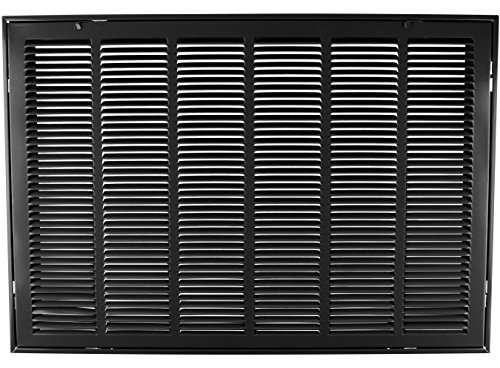 30'' X 14 Steel Return Air Filter Grille for 1'' Filter - Removable Face/Door - HVAC DUCT COVER - Flat Stamped Face - Black [Outer Dimensions: 32.5''w X 16.5''h] by HVAC Premium