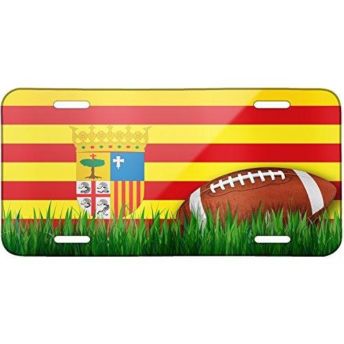Football with Flag Aragon region Spain Metal License Plate 6X12 Inch by Saniwa