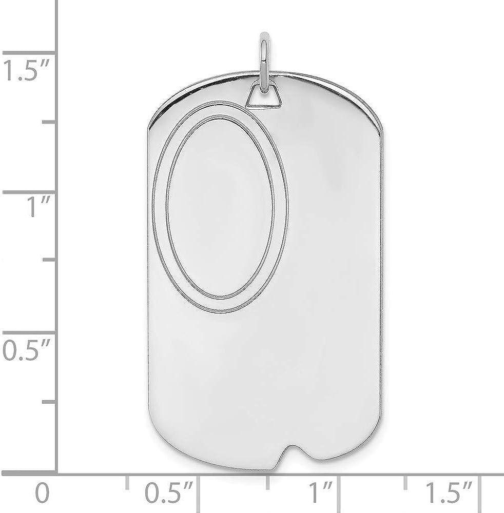 41mm x 21mm Solid 925 Sterling Silver Engravable Dog Tag Front//Back Disc Charm Brushed Matte Finish Pendant
