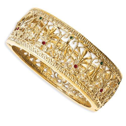 Kennedy-Plaqué Or-Cristal de Swarovski Element Bracelet Birmanie environ 1 cm de large, 7 cm