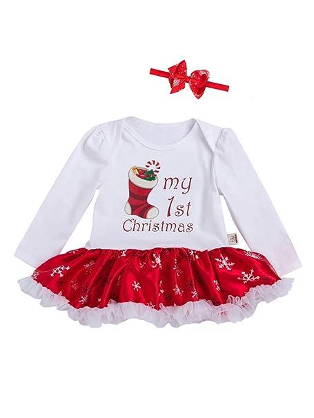 URBEAR Mi Primera Navidad Traje de Vestido Conjunto para ...