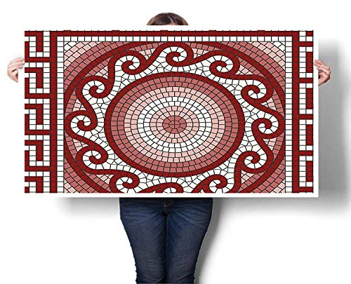 (Sunset glow Art Wall Calendar Mosaic with Classic Greek Meander Ornament Fractal Antique Pattern Ready to Hang for Bedroom Living Room Kitchen Bathroom Artwork 20