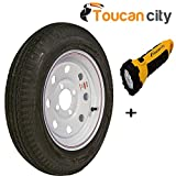 Loadstar 480-12 K353 BIAS 780 lb. Load Capacity White with Stripe 12 in. Bias Trailer Tire and Wheel Assembly 30560 and Toucan City LED flashlight