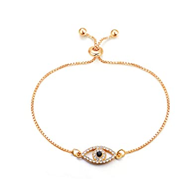 2281fcc1ccf22 Image Unavailable. Image not available for. Color  Luxury Gold Silver  Crystal Evil Eye Charms Bracelet ...