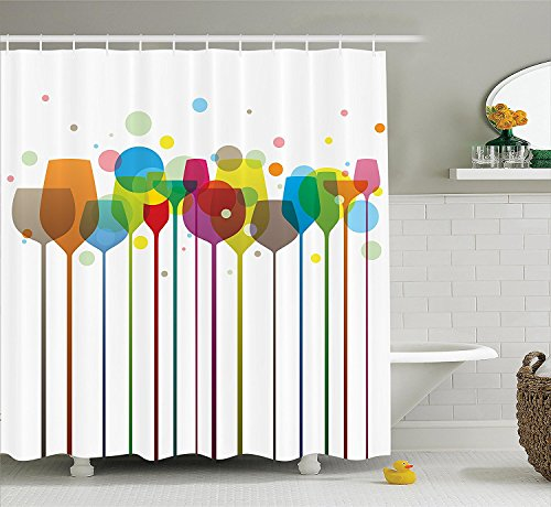 [Winery Decor Shower Curtain Set Colorful Stylish Tall Wine Glasses Alcohol Drink Beverage Fizzy Champaine Party Bar Art Design Bathroom Accessories] (Tall Drink Of Water Halloween Costume)