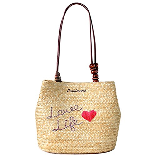 Letter Beach Abuyall Bag Bucket Straw Woven Vacation Beading Tote Handbag A Shoulder Summer Girl Hasp wq1X1ZBz
