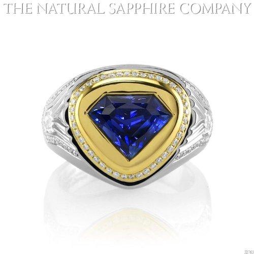 Custom Diamond Bezel (3.97ct natural untreated blue sapphire set in 18ky gold and platinum bezel set diamond mounting (J2765))