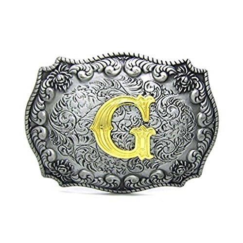 Initial Letters Western Style Cowboy Rodeo Gold/Silver Large Belt Buckles (G)