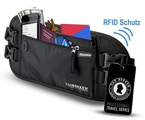 Bauchtasche Hüfttasche mit RFID Schutz | VAN BEEKEN - extra flacher Geldgürtel mit 2 Hüftgurten zum Reisen, Joggen und Wandern - enganliegend und wasserabweisend - schwarz