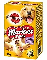 Pedigree Markies Trios - Biscuits fourrés en 3 saveurs pour chien, 1 boîte de 900g de friandises