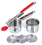 Rorence Stainless Steel Potato Ricer with 3 Interchangeable Discs & Inner Cup & Silicone Grip Handles - Red