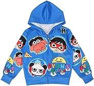 Thombase Ryan's World YouTube Merch Toys Review Kids Hooded Jacket Cartoon
