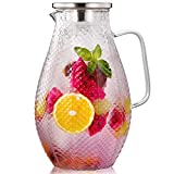 Hiware 75 Ounces Glass Pitcher with 18/8 Stainless Steel Lid...