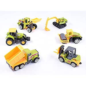 Cltoyvers 6 Pieces Mini Metal Construction Vehicle Toys Set for Kids - Forklift, Bulldozer, Road Roller, Excavator, Dump Truck, Tractor (Green)