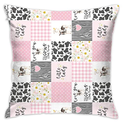 (3 Inch Little LadyLove You Till The Cows Come Home - Wholecloth Cheater Quilt - Pink - Rotated Throw Pillow Covers Soft Particles Cotton Linen Cushion Covers 18 X 18 inch for Couch Bedroom Car)