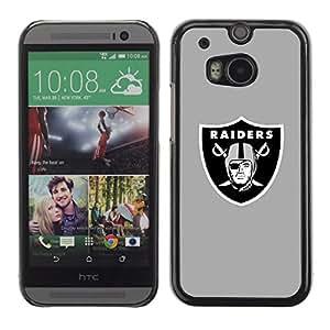 Raiders Gray Caja protectora de pl¨¢stico duro Dise?ado King Case For HTC One M8