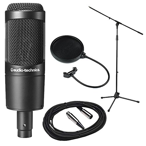 Audio-Technica AT2035 Large Diaphragm Studio Condenser Microphone Bundle with Shock Mount, Pop Filter, and XLR Cable (Large Diaphragm Cardioid Condenser Microphone)