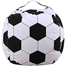 Ehonestbuy Stuffed Animal Storage Kids' Bean Bag Chair, Cotton Canvas Toy Organizer for Kids Bedroom, Storage Solution for Plush Toys, Blankets, Towels & Clothes (26 Inch, Football)