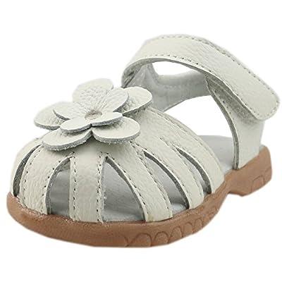 Orgrimmar Girls Genuine Leather Solid Flower Sandals (Toddler, Little Kid)