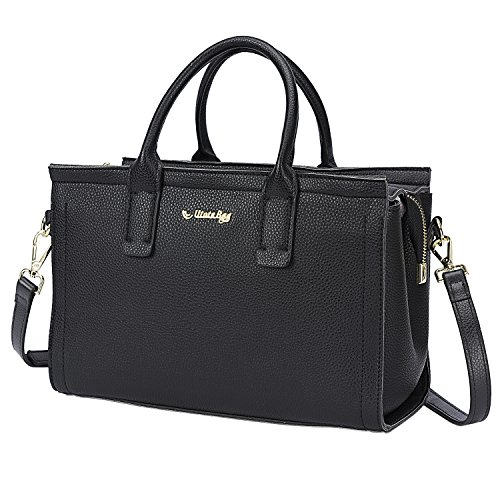 Utotebag Women Top Handle Satchel Tote bag Shoulder Bags HandBag Work Purse Crossbody Bag (Black)
