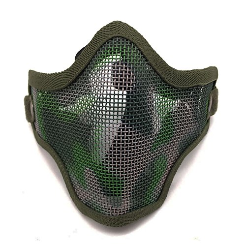 Ecloud Shop® Tactical Airsoft Masque Visage Striker Acier Métal Mesh Bas Demi-Masque