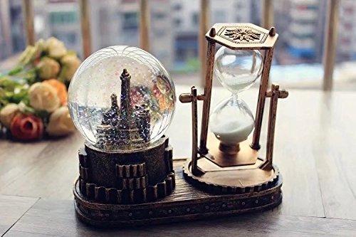 子供のおもちゃ レトロなスタイルのクリスタルボールオルゴールのメリーゴーラウンドの時計のミュージカルボックスの砂時計 B07LC6BCFV