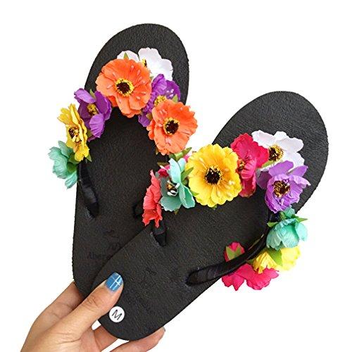 Pantofole Da Spiaggia Piatte Donna Estate Bininbox Sandali Infradito Con Fiori Colorati Neri