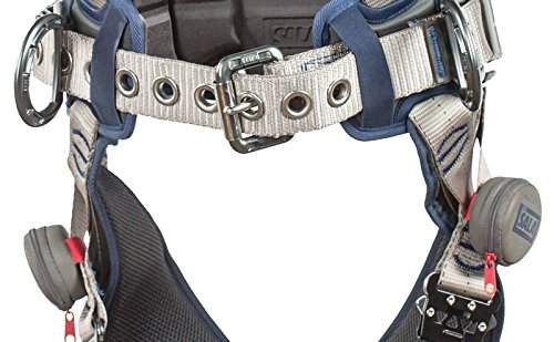 3M DBI-SALA 1112542 ExoFit STRATA, Aluminum 4 D-Rings, Tri-Lock Revolver QC Buckles with Sewn in Hip Pad/Belt, Large, Blue/Gray