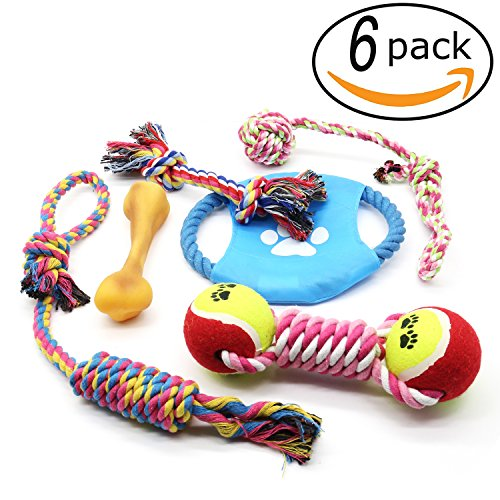Dog Chew Toys, 6 PCS Pet Puppy Rope Toys Set Doggy Rope Ball Puppy Teeth Clean Dental Toy For Small & Medium Dog