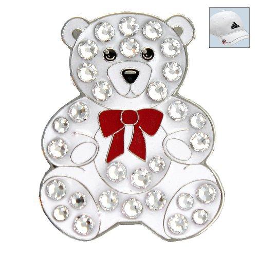- Bella Crystal Golf Ball Marker & Hat Clip - Teddy Bear - White