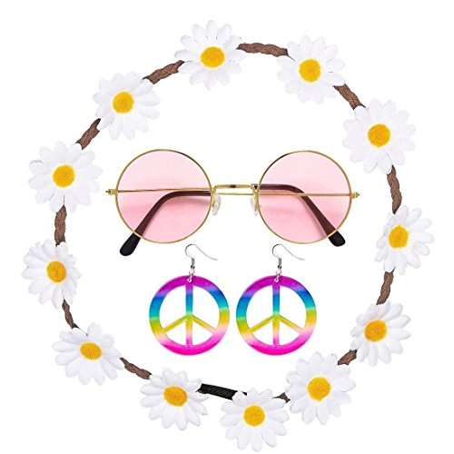 Rimi Hanger Hippie Hippy Floral Daisy 60s peace Festival Fancy Dress 4 Pieces Set Accessory One (Ladies Hippy Fancy Dress)