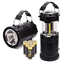 PACEARTH COB LED Camping Lantern HandheldFlashlight 2 in 1 Magnetic Base Removable Handle Spotlight Brighter 3 AA Batteries Emergencies Hurricane Power Outage 2-Pack