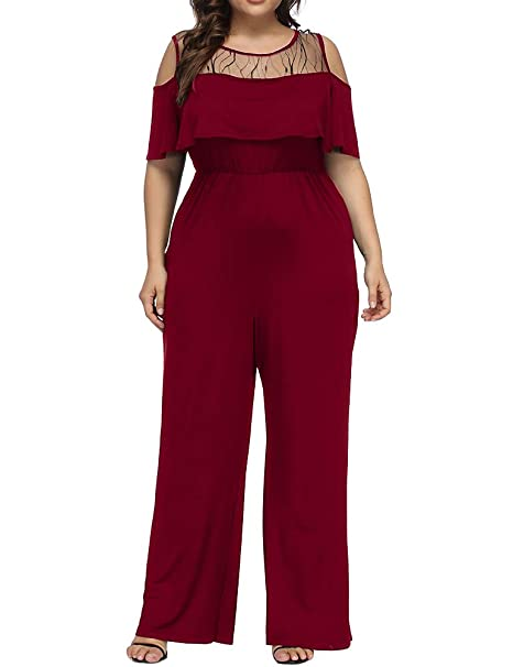 brand new fashion design special price for Allegrace Women's Plus Size Lace Cold Shoulder Jumpsuit Flounce Sleeve Long  Rompers