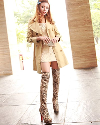 Boots Minetom Round Over Sexy Fashion Heel Leopard High Thin Toe Winter Suede The Women Knee Boots rq4x6Fwr7