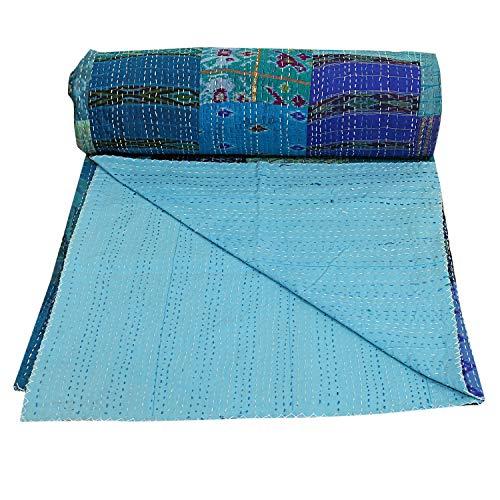 Silk Patchwork Kantha Quilt Handmade Silk Sari Kantha Blanket Queen Size Hand Stitched Kantha Bed Cover Bohemian Kantha Silk Throw