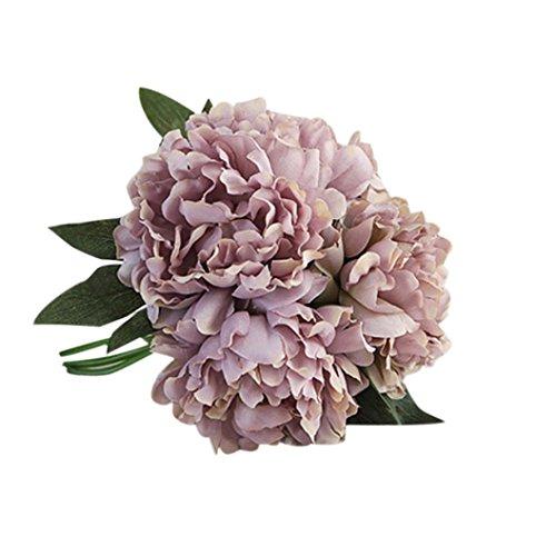 Leewa Hot Sale ! Fabric+Plastic Artificial Silk Fake Flowers Peony Wedding Bouquet Bridal Decor (C)
