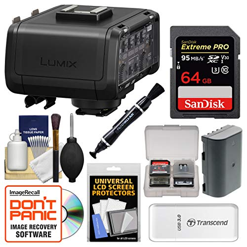 Panasonic Lumix DMW-XLR1 XLR Professional Microphone Adapter for DC-GH5 & GH5S Camera with 64GB Card + Battery + Cleaning Kit