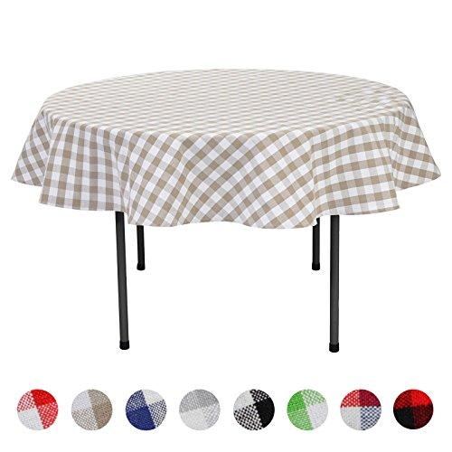 Check Tablecloths Round (VEEYOO Plaid Check Tablecloth Gingham 100% Cotton for Home Kitchen Party Indoor or Outdoor Use 70 inch Round (Seats 4 to 6 People), Tan & White)