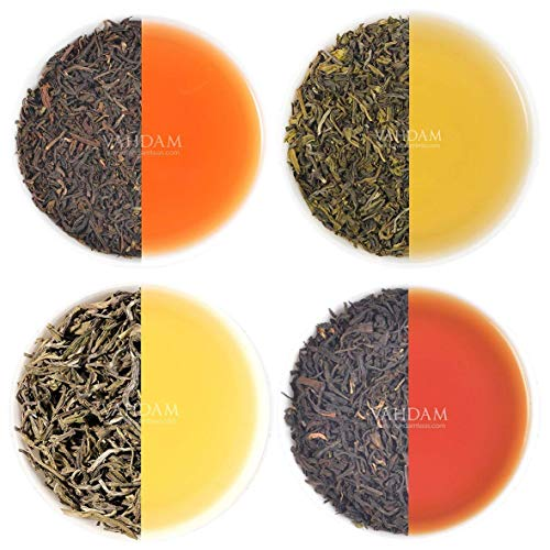 VAHDAM, Earl Grey Tea Sampler (5 TEAS, 50 Cups) Black Tea, Green Tea, Oolong Tea, White Tea, Chai Tea blended with Natural Bergamot Oil, Tea Variety Pack, Bergamot Tea, Loose Leaf Tea, Tea Gift Set