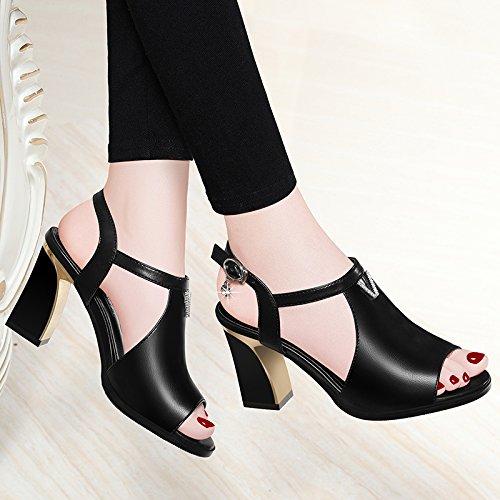 Jqdyl High Heels Sommer-Fisch-Mund-wilde Gezeiten-hochhackige Mode mit groben Absatz-Sandelholz-Schuhen  34 C black