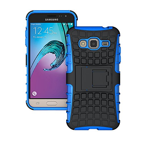 J3 Case (2016 Version), K-Xiang (Armor Series) Heavy Duty Protection Hybrid Shockproof Dual Layer Protective Case Cover With Stand for Samsung Galaxy J3 / Amp Prime / Express Prime (Blue, 5.0 inches)