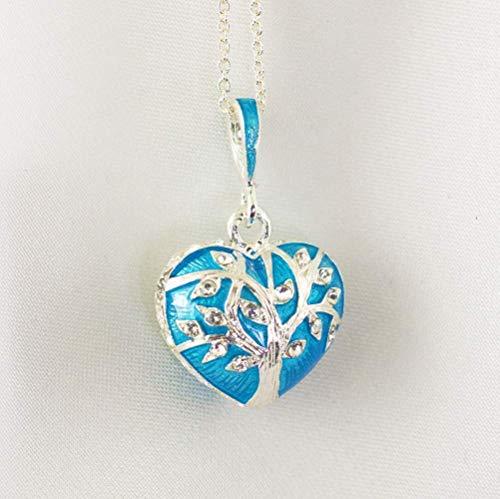 Tree of Life Pendant, Sacred Tree Jewelry for Women Necklace, Silver Turquoise Enamel Jewelry Heart Necklace, Large Heart w Tree of Life on Both Sides, Enameled Turquoise Blue Heart Pendant
